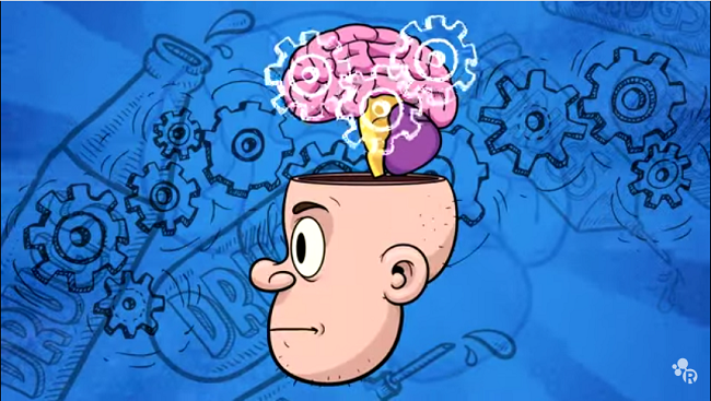 Illustration of man with demonstrating the thoughts of addiction.
