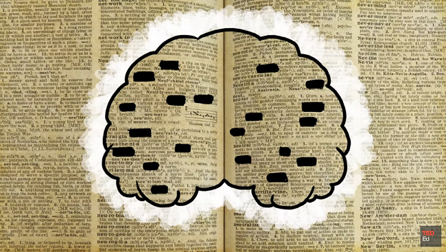 Illustration of a brain on a background of book pages with some words blackedout.