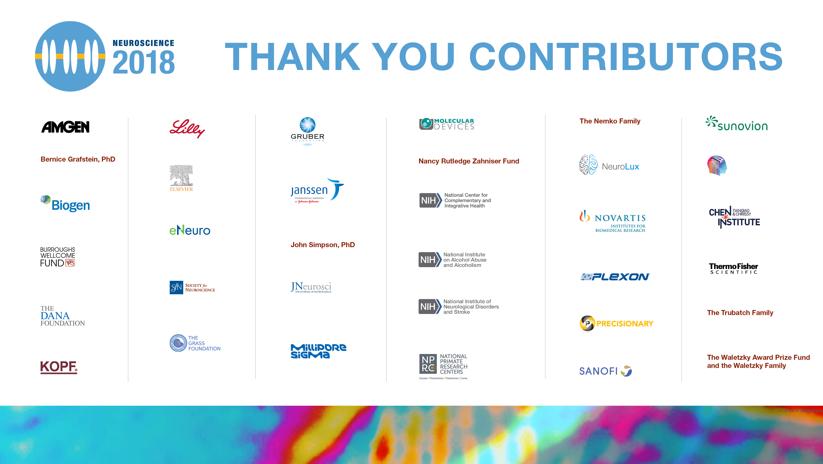The Neuroscience 2018 contributor logos.