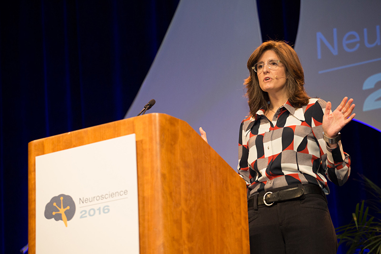 "Sarah M.N. Woolley, PhD of Columbia University delivered a Presidential Special Lecture at Neuroscience 2016 called ""Tuning Auditory Circuits for Vocal Communication"""