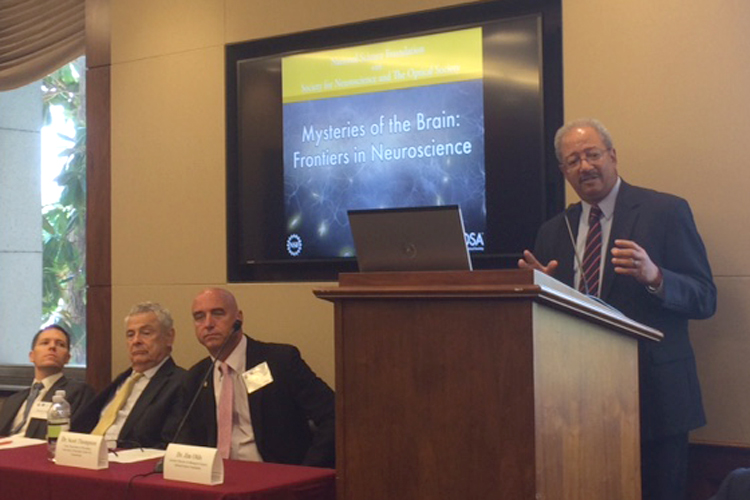 Congressman Chaka Fattah addresses the media about brain and science funding in Washington, DC.