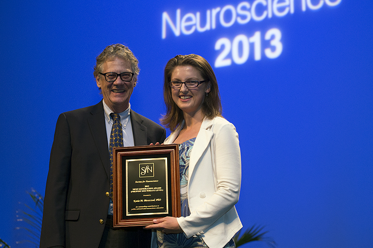 Next Generation Award recipient honored at Neuroscience 2013.