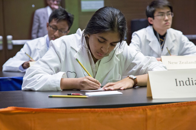 2014 International Brain Bee Winner Gayathri Muthukumar of Bangalore, India competes for the title of champion.