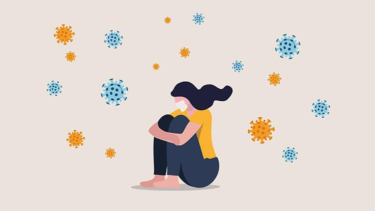 Sad unhappy depressed girl sit alone with virus pathogens