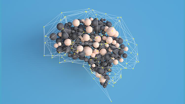 3-D brain on blue background