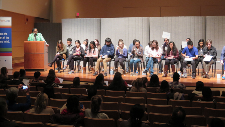 Photograph of students at brain bee