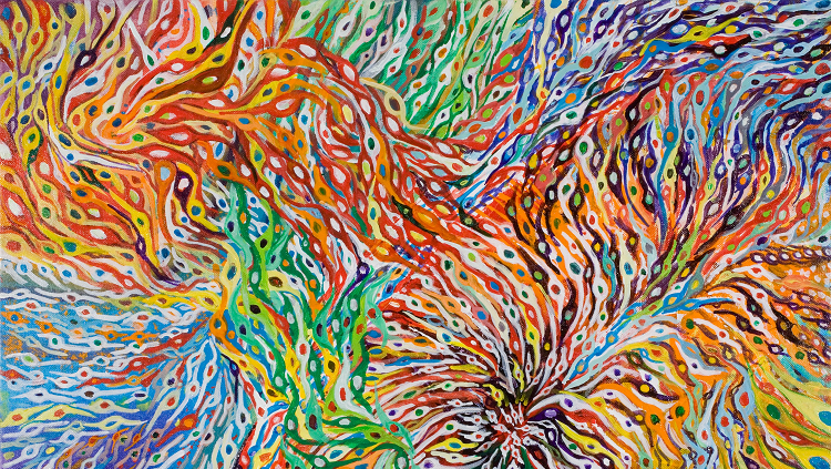 rainbow illustration of developing brain