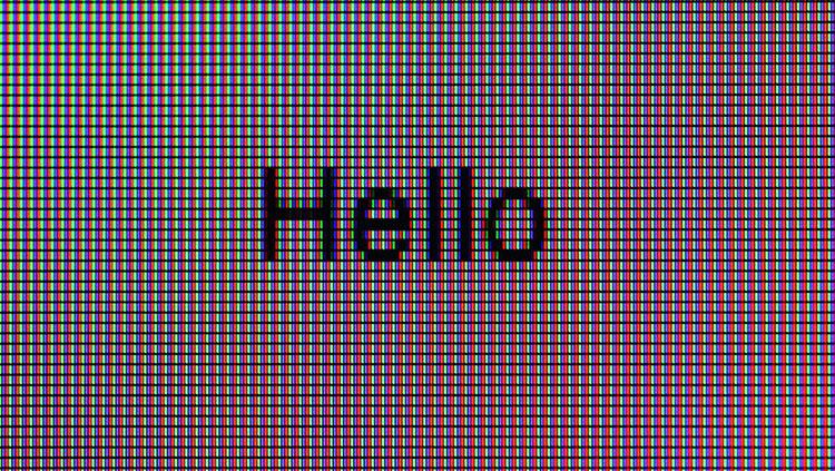 'Hello' on computer screen