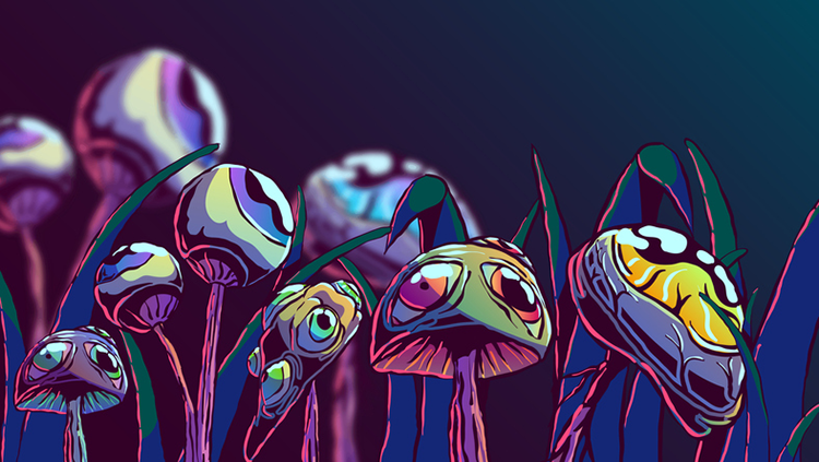 Illustration of purple mushrooms