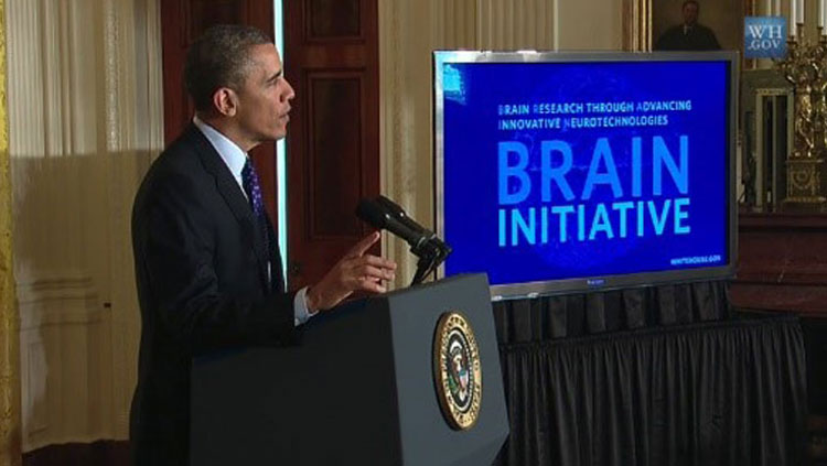 President Barack Obama announcing the BRAIN Initiative