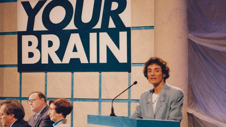 SfN President Carla Shatz opens Dana Alliance Event, 1995.