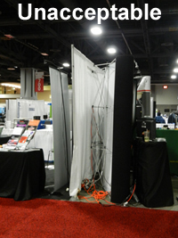 Image of unacceptable booth presentation.