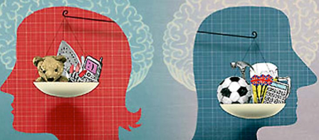 two heads with the scales of justice. On the left, the red head contains an iron and a teddy bear. On the right, the blue head contains a soccer ball and a calculator.