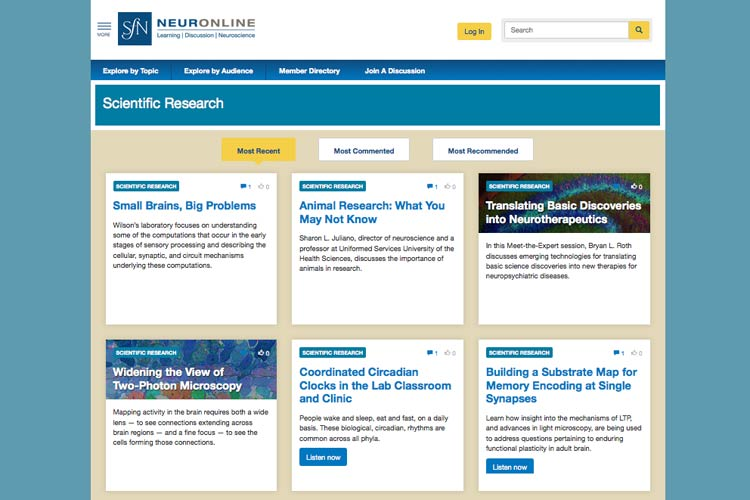 SfN's online learning center, Neuronline.