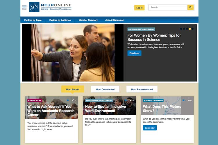 SfN's new member-only website, Neuronline.