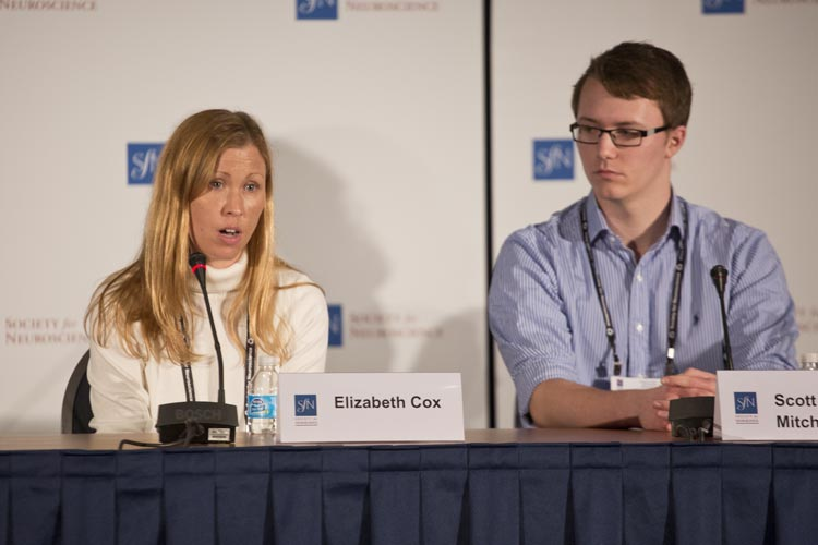 Elizabeth Cox presents at an SfN press conference about the developing brain.