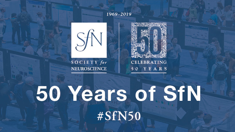SfN 50th Anniversary logo on top of an image of the Annual Meeting poster floor