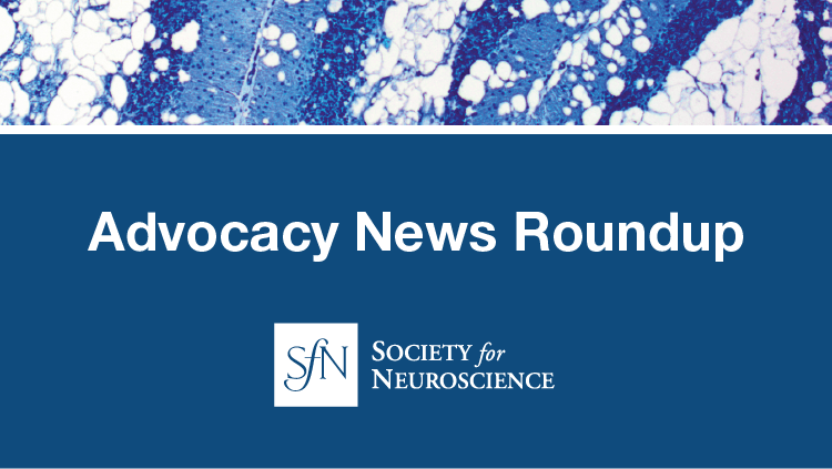 Advocacy News Roundup advertisement with decorative science imagery