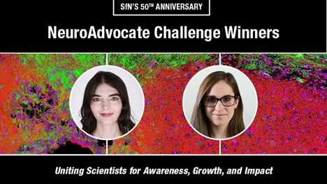 "Images of the two NeuroAdvocate Challenge Winners ""SfN's 50th Anniversary NeuroAdvocate Challenge Winners , Uniting Scientists for Awareness, Growth and Impact"""