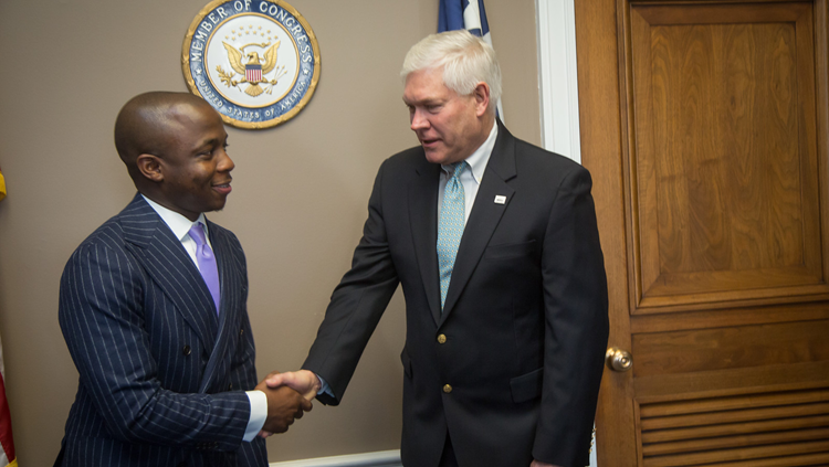 ECPA shakes hands with a member of Congress