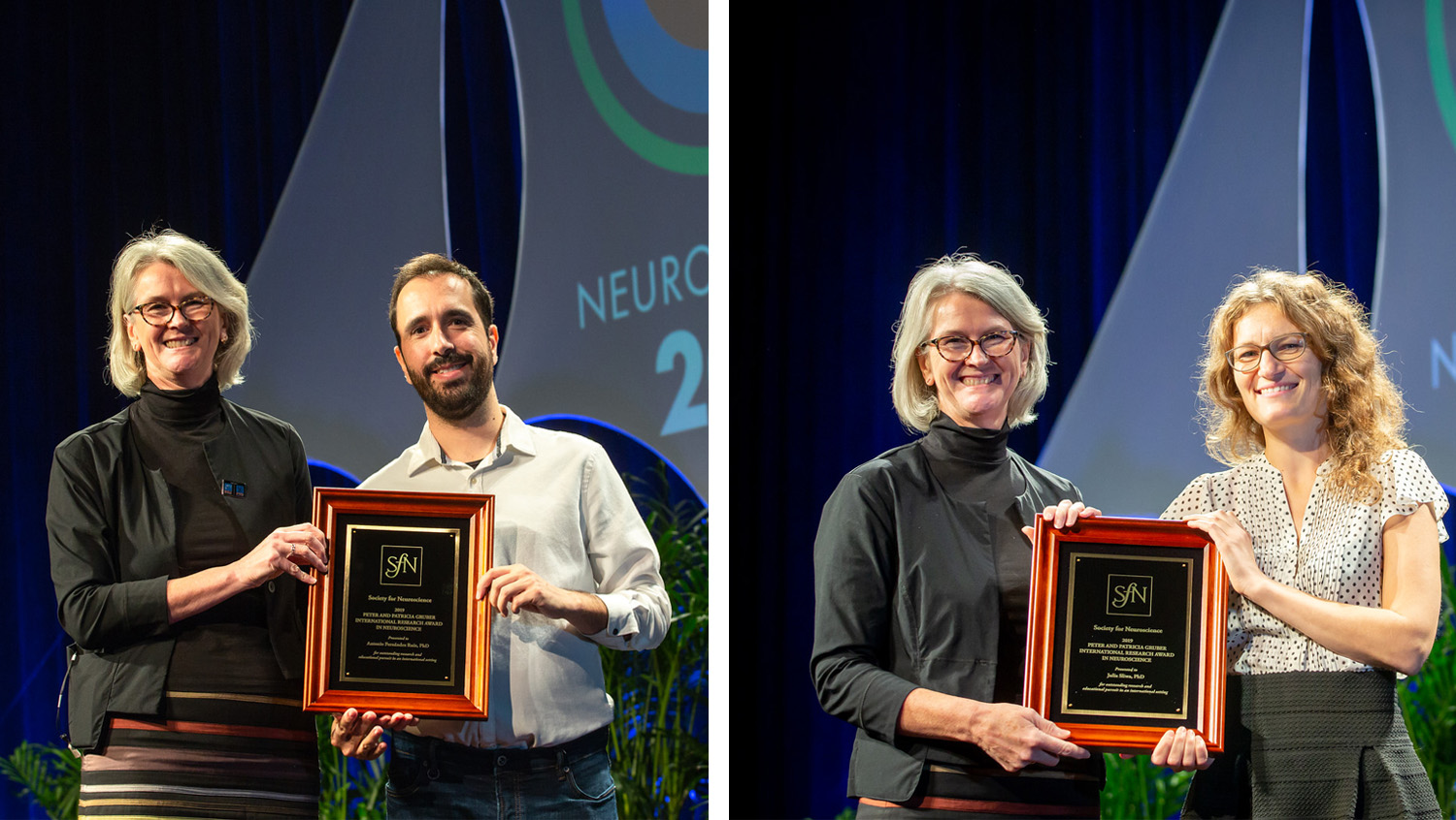 Antonio Fernández Ruiz, PhD (left), of the New York University Medical Center, and Julia Sliwa, PhD (right), of The Rockefeller University, accept the Peter and Patricia Gruber International Research Award.