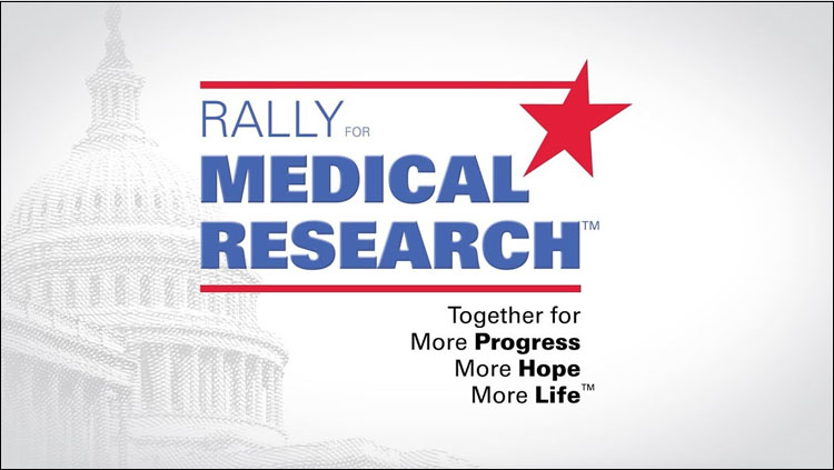 """White background with blue text saying """"Rally for Medical Research. Together for more progress, more hope, more life."""""""