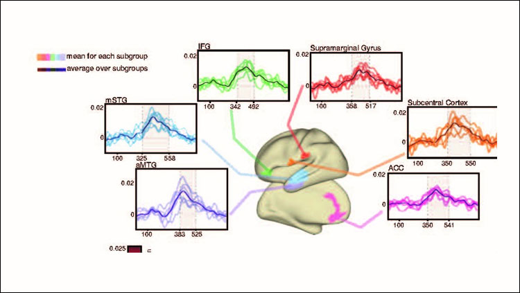 Supramodal correlated activity patterns of word-specific activity consistent across the majority of datasets. (A) Averaged correlation time courses (mean over all possible cross-modal subject pairings) are shown for selected parcels in inferior frontal Gyrus (IFG, green), supramarginal Gyrus (red), Subcentral Cortex (orange), Anterior cingulate cortex (ACC, pink), anterior middle temporal Gyrus (aMTG, purple), and middle superior temporal gyrus (mSTG, blue). Time courses are shown for each dataset individually (light-colored lines) as well as averaged (dark lines). Grey shaded areas mark statistically significant time points.