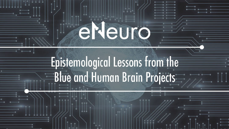 "Grey background with the text ""eNeuro, Epistemological lessons from the blue and human brain projects."""