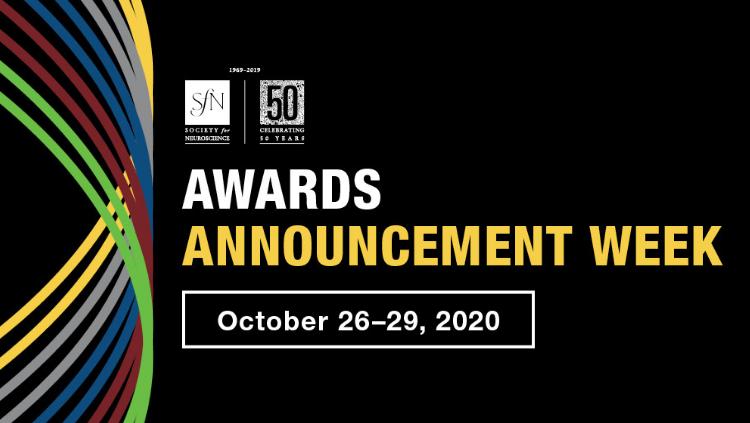 Awards Announcement Week infographic, SfN logo, October 26-29, 2020