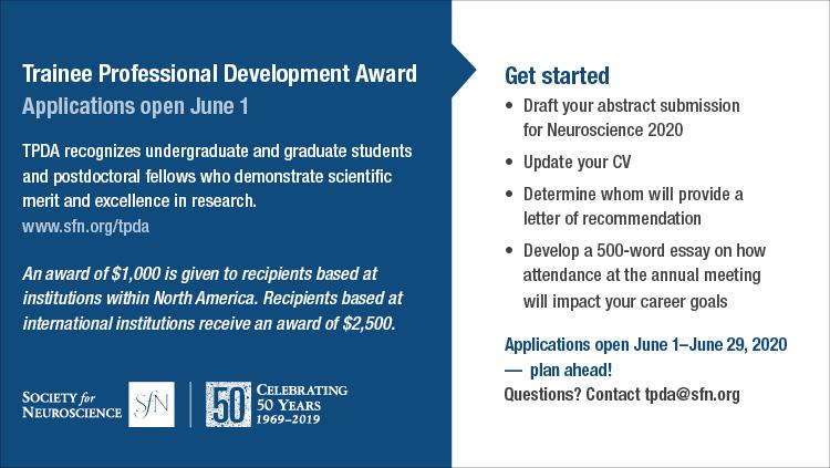 Trainee Professional Development Award application instructions