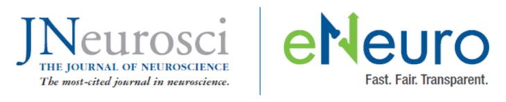 JNeurosci and eNeuro logos side by side with a blue line between them.