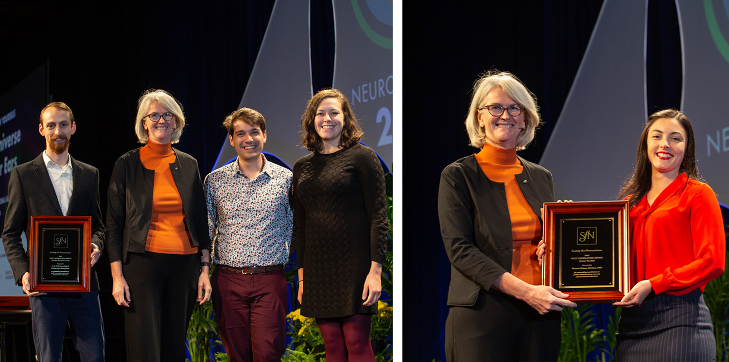Cody Call, Kevin Monk, and Emma Spikol (from left), of Johns Hopkins University and Victoria Heimer-McGinn, PhD (right), of Roger Williams University, accept the Next Generation Award.