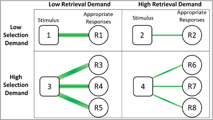 Selection and retrieval demands within the tasks. Items with high selection and low retrieval demands are those with many highly associated responses, and items with low selection and high retrieval demands are those with one weakly associated response.