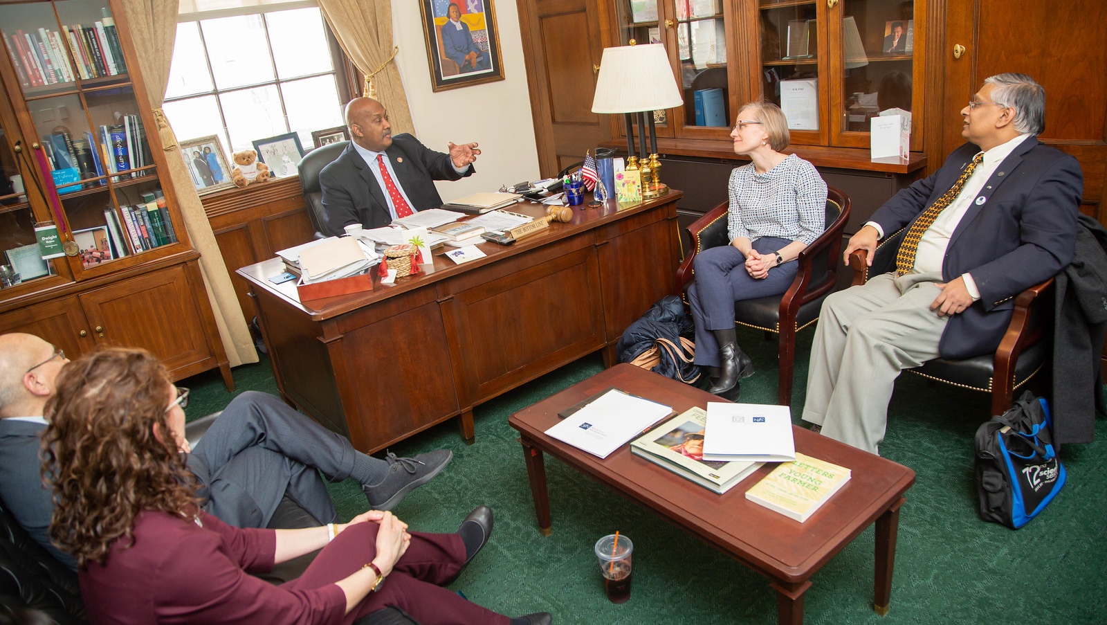 Rep. Dwight Evans (D-PA, center) (center) meets with SfN advocates to discuss funding for NIH and NSF.