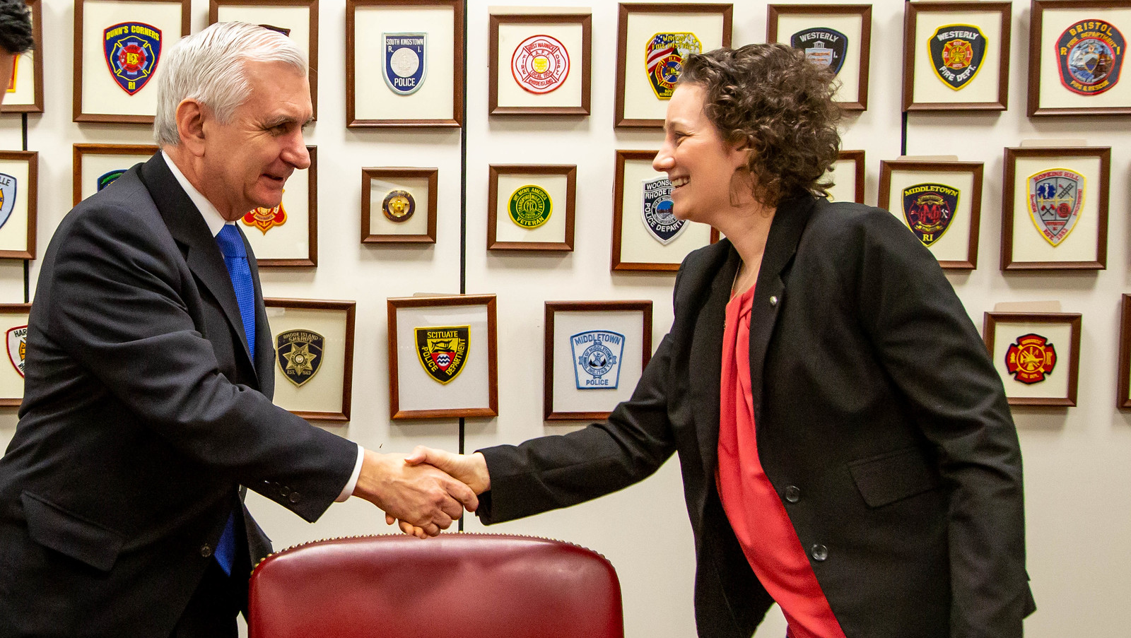 Sen. Jack Reed (D-RI) (left) meets with Government and Public Affairs Committee member Monica Linden.