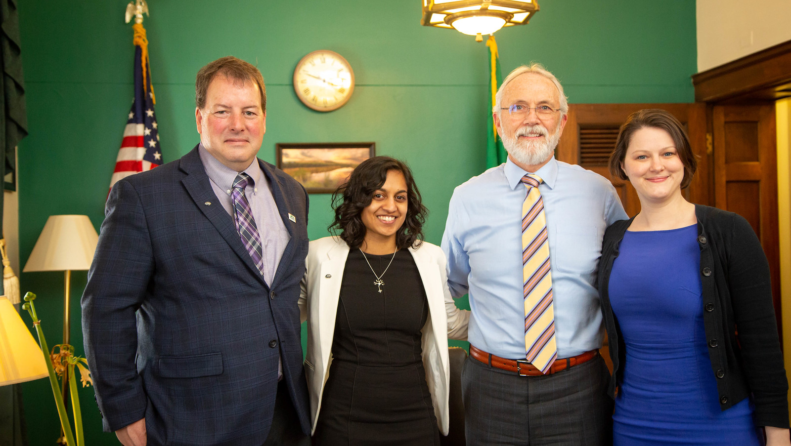 SfN advocates Ed Bilsky, 2019 Early Career Policy Ambassador Priyanka Bushana, and Mollie Marr wrap up a successful meeting with Rep. Dan Newhouse (R-WA) (second from right).