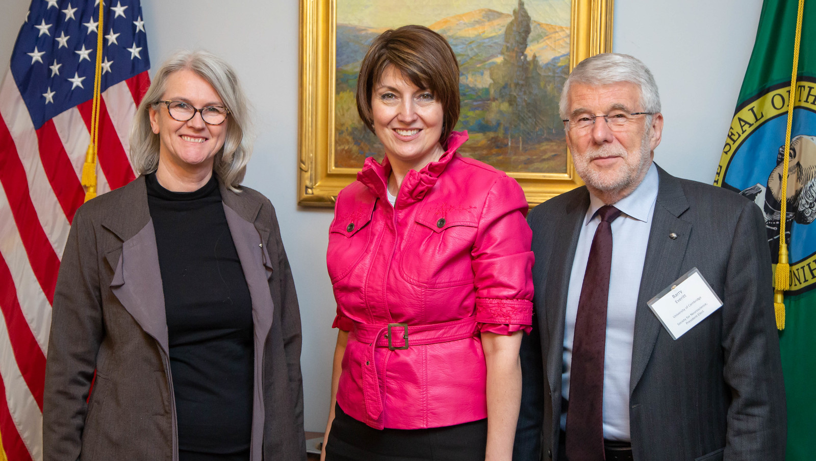 SfN President Diane Lipscombe (left), Rep. Cathy McMorris Rodgers (WA), and SfN President-Elect Barry Everitt meet during 2019 Capitol Hill Day.