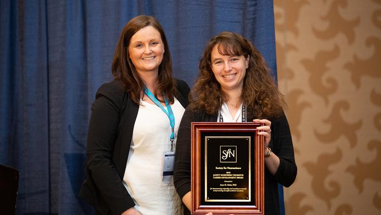 Aryn H. Gittis, PhD, of Carnegie Mellon University, accepts the Janett Trubatch Career Development Award.