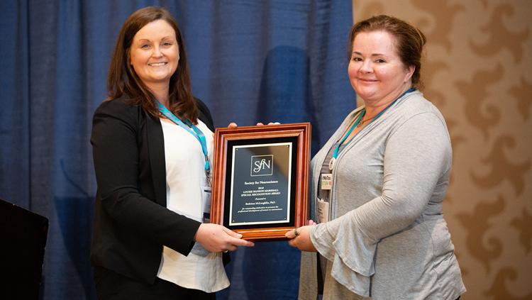 BethAnn M. McLaughlin, PhD, of Vanderbilt University, accepts the Louise Hanson Marshall Special Recognition Award.