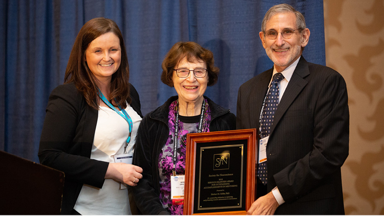 Herbert M. Geller, PhD, of the NIH's National Heart, Lung, and Blood Institute, is honored with the Bernice Grafstein Award for Outstanding Accomplishments in Mentoring.