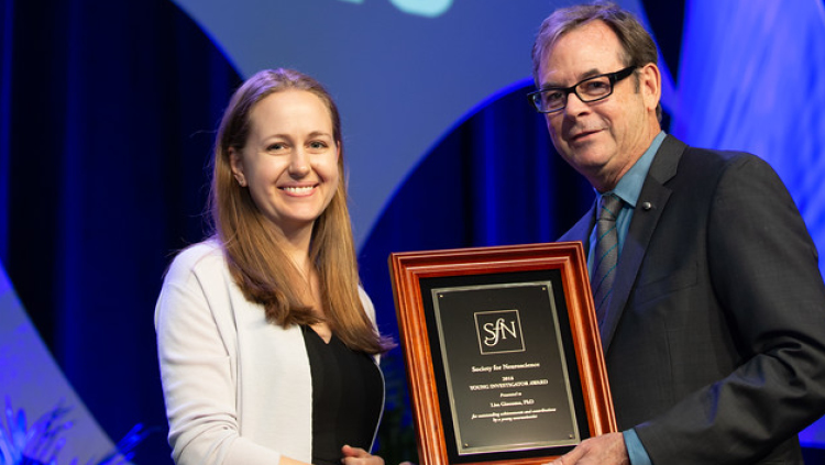 Lisa Giocomo, PhD, of Stanford University, receives the Young Investigator Award.
