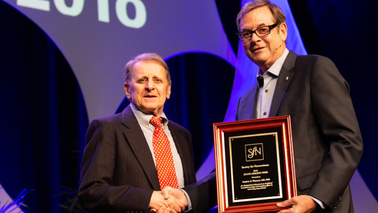 Stephen G. Waxman, PhD, MD, of Yale University, receives the Julius Axelrod Prize.