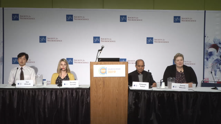 (Left to right): Gen Ohtsuki, Dorothy Schafer, Kalipada Pahan, and Donna Wilcock answer questions at the 'Self-Sabotage: The Role of the Immune System in Neurological Disorders' Neuroscience 2019 press conference.