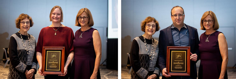 Zoe Donaldson, PhD (left), of the University of Colorado Boulder, and Michael Yartsev, PhD (right), of the University of California, Berkeley receive the Janett Rosenberg Trubatch Career Development Award.