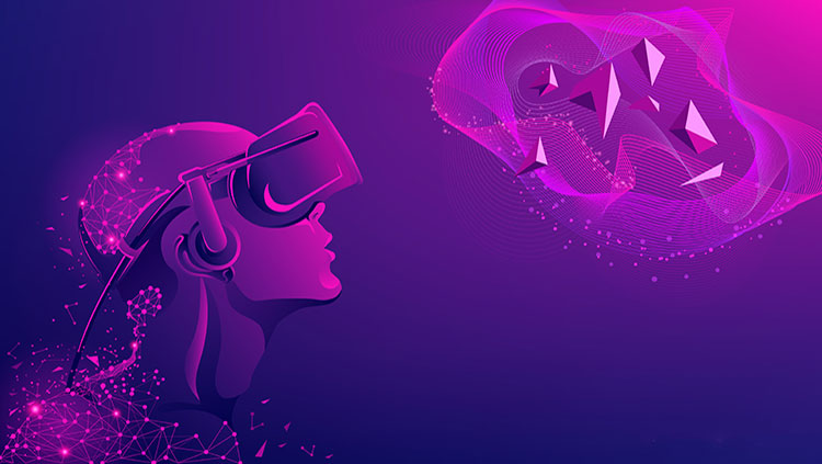 Cartoon image of using virtual reality goggles.