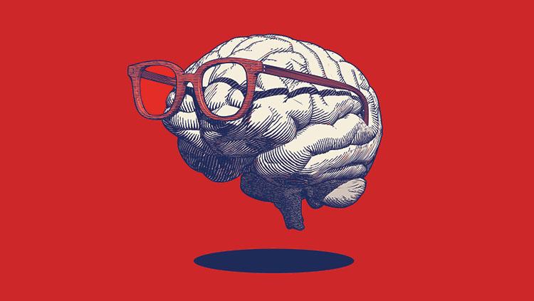 image of a cartoon brain wearing glasses.