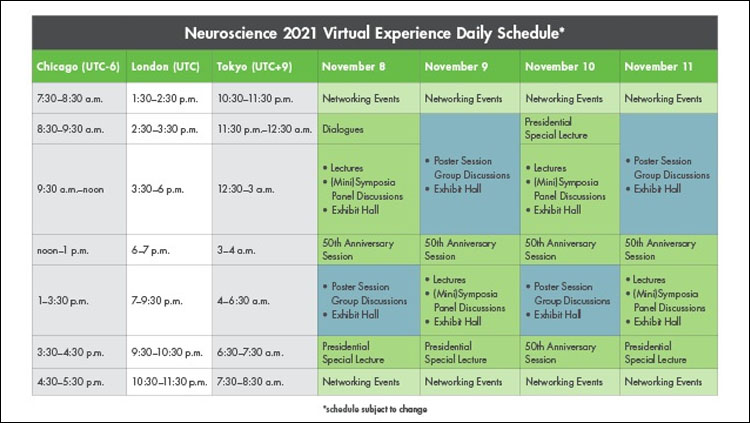 image of the daily schedule for Neuroscience 2021.