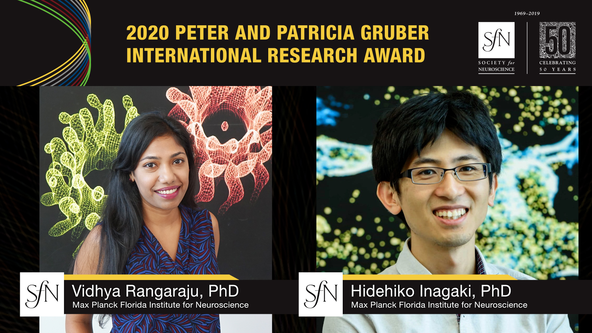 2020 Peter and Patricia Gruber International Research Award winners graphic, images of Vidhya Rangaraju, PhD Max Planck Florida Institute for Neuroscience, Hidehiko Inagaki, PhD Max Planck Florida Institute for Neuroscience