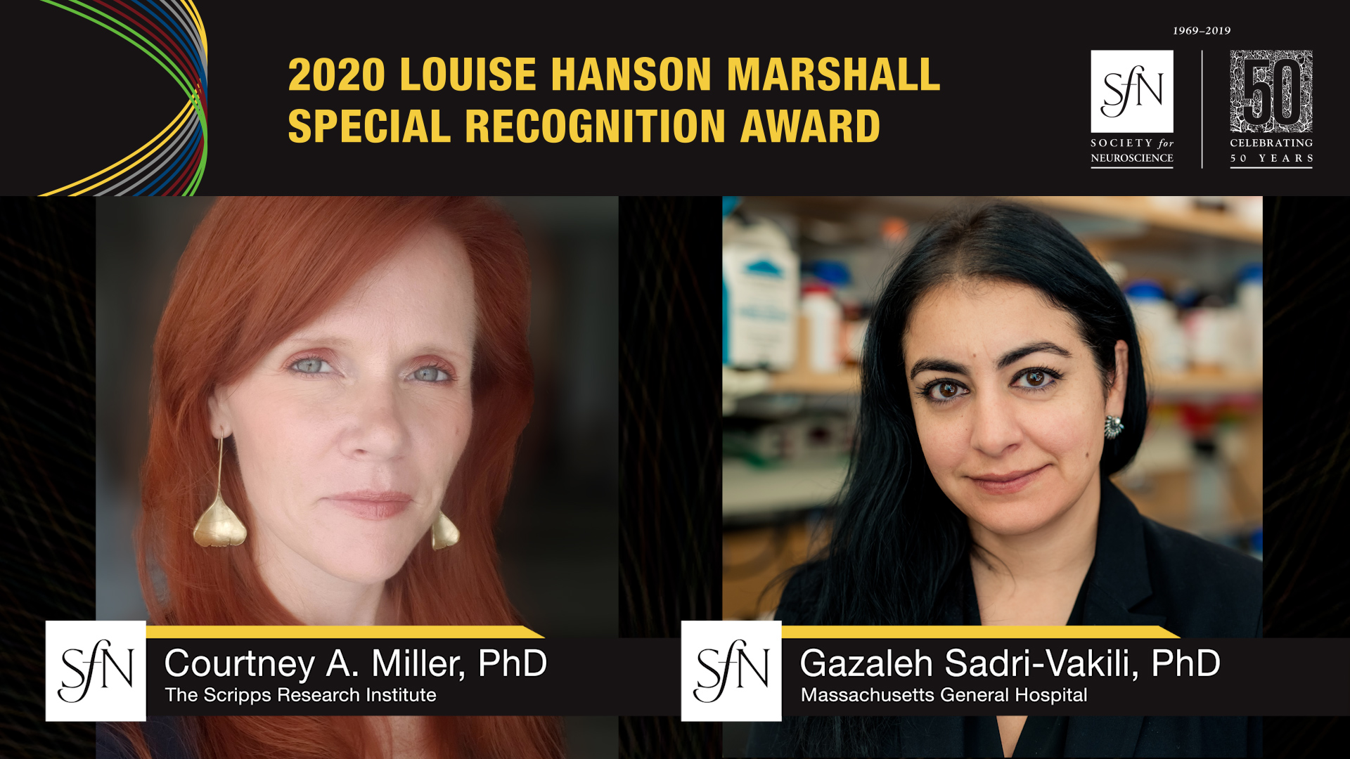 2020 Louise Hanson Marshall Special Recognition Award winners graphic, images of Courtney A. Miller, PhD The Scripps Research Institute and Gazaleh Sadri-Vakili, PhD Massachusetts General Hospital