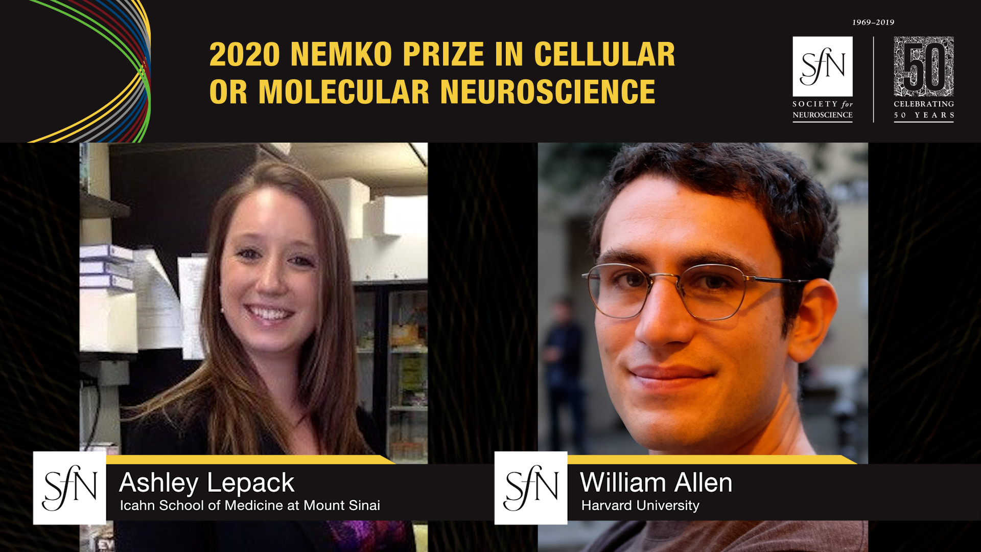 2020 Nemko Prize in Cellular or Molecular Neuroscience Award winners graphic, images of Ashley Lepack Icahn School of Medicine at Mount Sinai and William Allen Harvard University